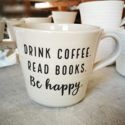 Jättimuki 6dl tekstillä Drink coffee. Read books. Be happy.